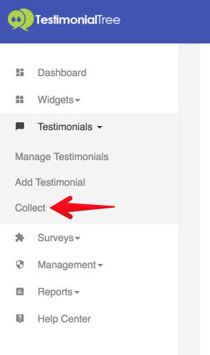 The First Option On The Testimonial Collection Page Directs You To The Form  That You Can Send To Your Client. Select